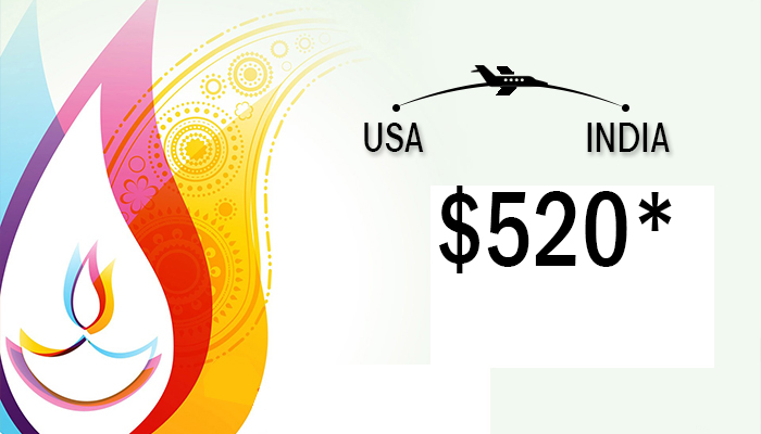 Diwali Travel Deals : USA To INDIA Round Trip Starts From $520*