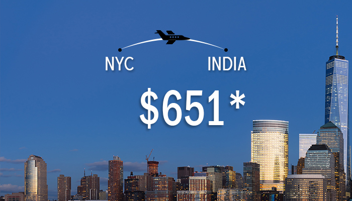 NEW YORK To INDIA ROUND TRIP DEALS : STARTS FROM $651*