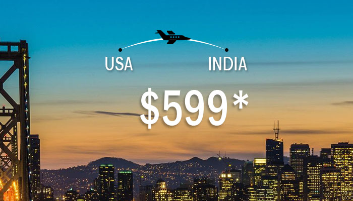 GRAB USA TO INDIA FLIGHT DEALS : ROUND TRIP STARTS FROM $599*