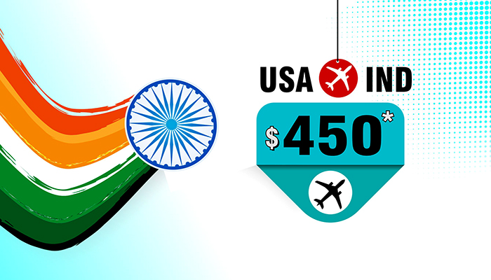 Republic Day Travel Offers : USA To INDIA Round Trip Fares Starts From $450*