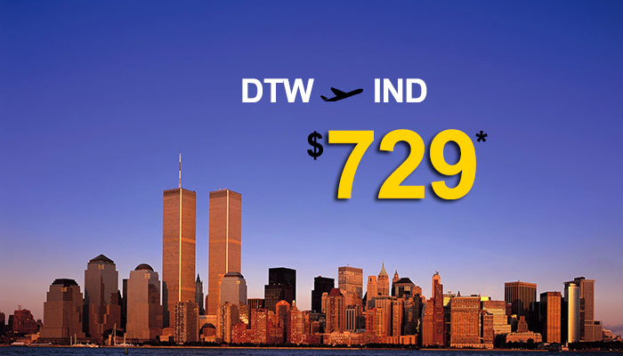 DETROIT To INDIA ROUND TRIP DEALS : STARTS FROM $729*