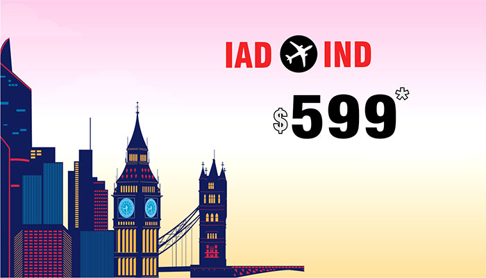 WASHINGTON TO INDIA ROUND TRIP DEALS : FARE STARTS FROM $599*
