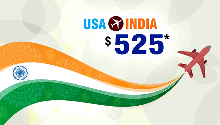 INDEPENDENCE DAY OFFER : USA TO INDIA ROUND TRIP STARTS FROM $525*