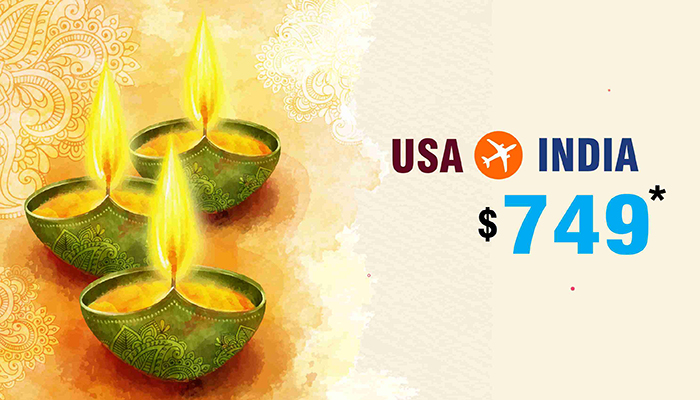Diwali Travel Deals : USA To INDIA Round Trip Starts From $749*