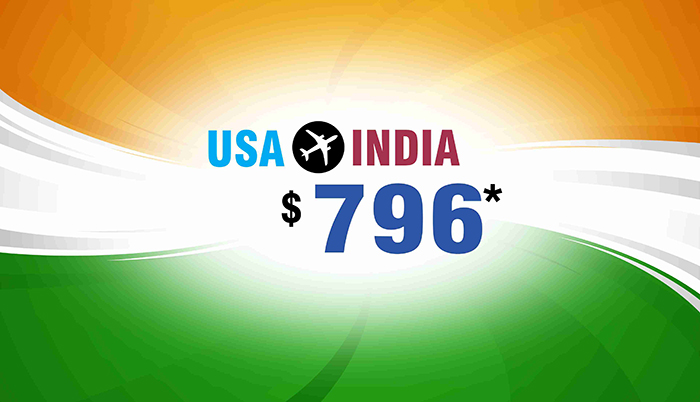 REPUBLIC DAY TRAVEL DEALS : USA TO INDIA ROUND TRIP FLIGHT STARTS FROM $796*